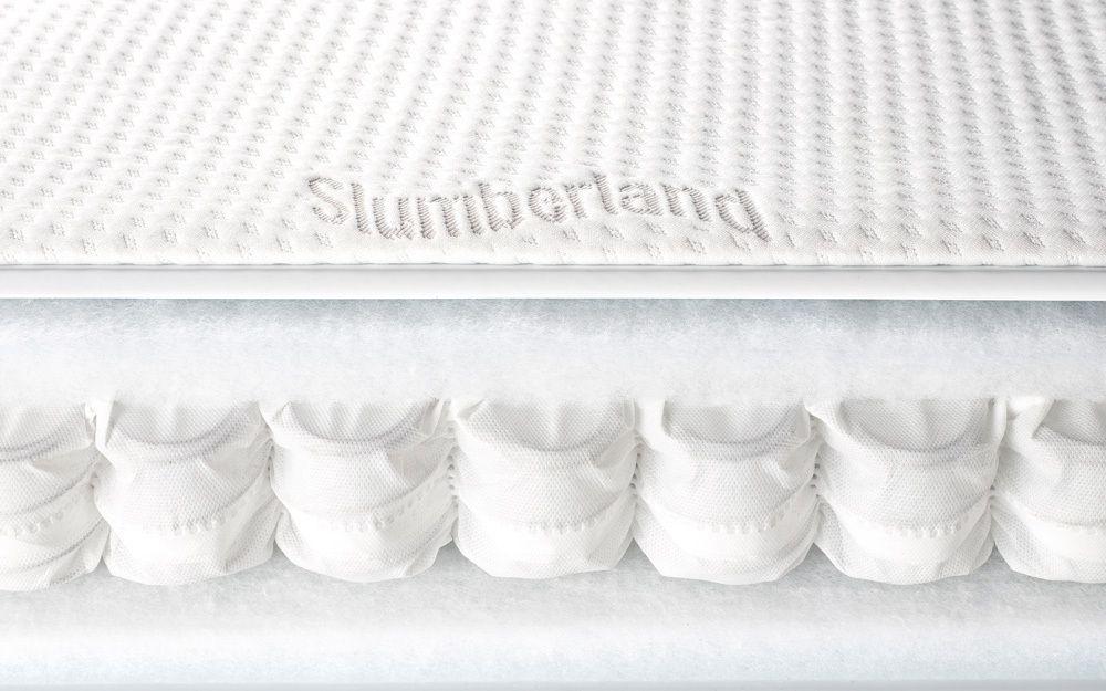 A bisection of a pocket sprung cot bed mattress