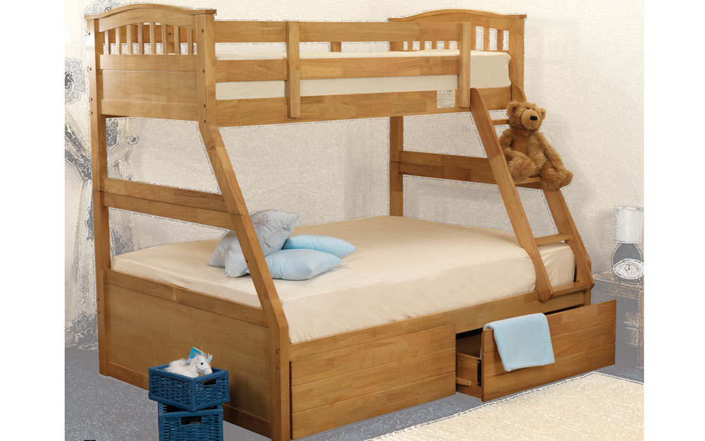 Sweet Dreams Epsom Wooden Three Sleeper Bunk Bed, Double, No Storage, Oak effect