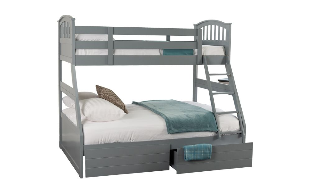 Sweet Dreams Epsom Wooden Three Sleeper Bunk Bed, Double, No Storage