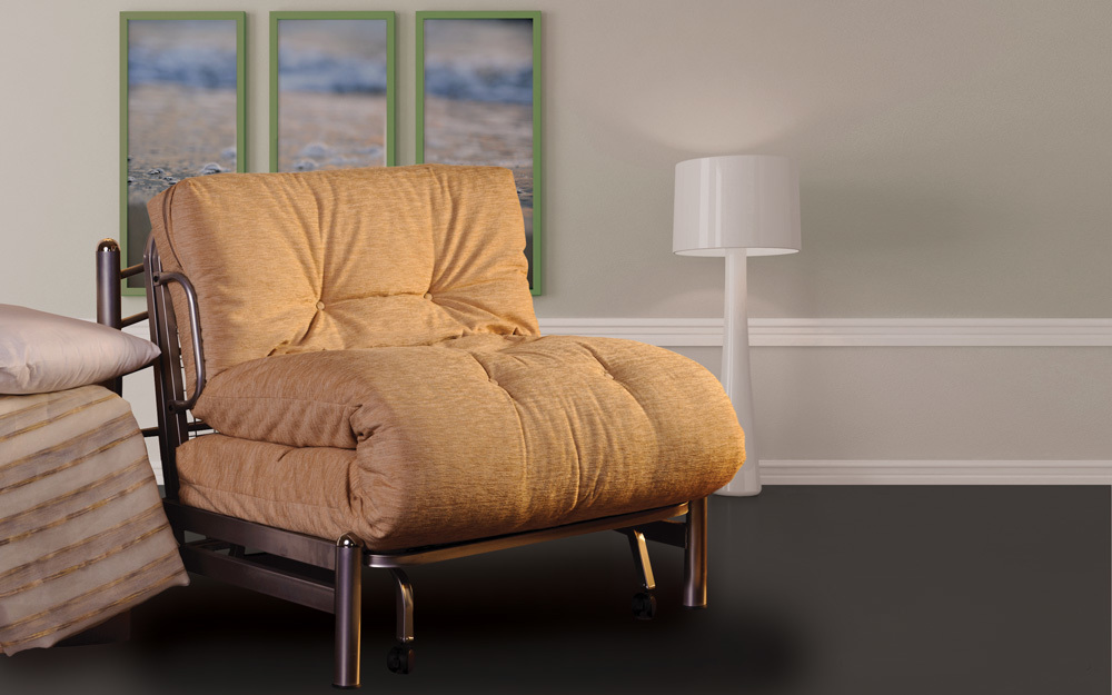 A Sweet Dreams futon bed that easily unfolds to become a single bed