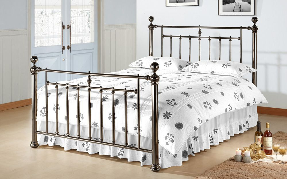 Time Living Alexander Metal Bed Frame, King Size, Metal Finials, Chrome