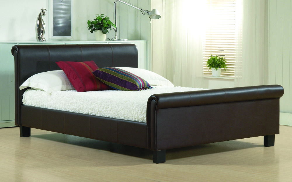 Time Living Aurora Faux Leather Bed Frame, King Size, Faux Leather - Black
