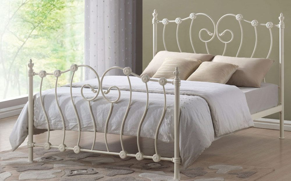 Time Living Inova Metal Bed Frame, King Size, Ivory