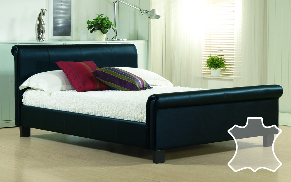 Time Living Aurora Real Leather Bed, Double, Real Leather - Black