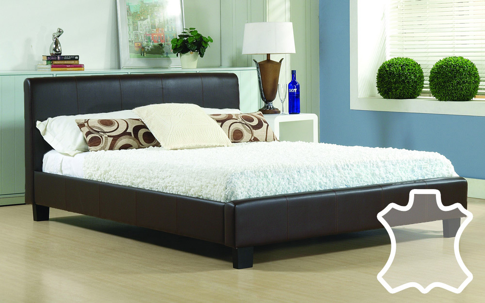 time living hamburg real leather bed