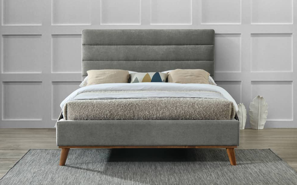 Mayfair Grey Fabric Bed Frame, Double
