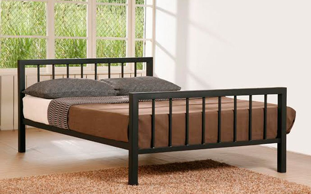 angle bedroom dark frame metal alt bed ruskin furniture