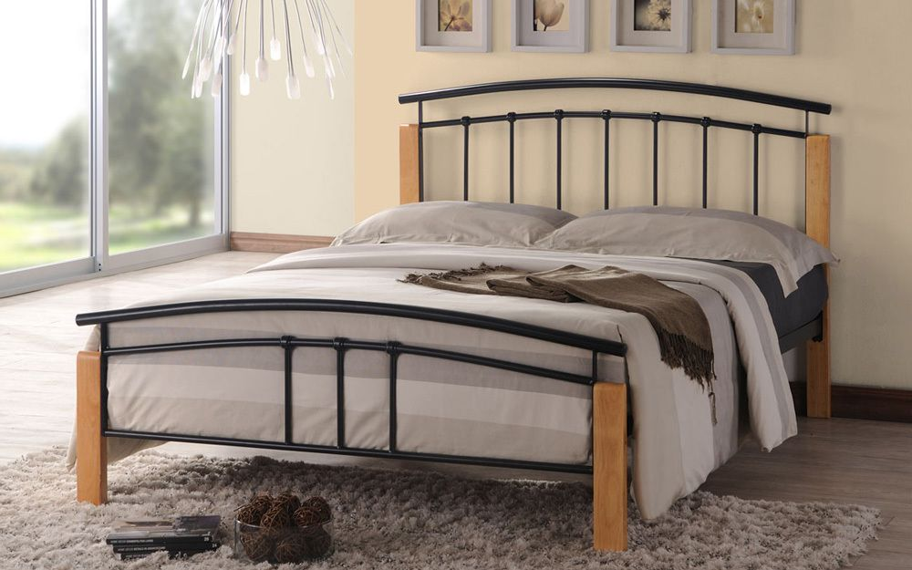 Time Living Tetras Metal Bed Frame, Double, Black & Beech