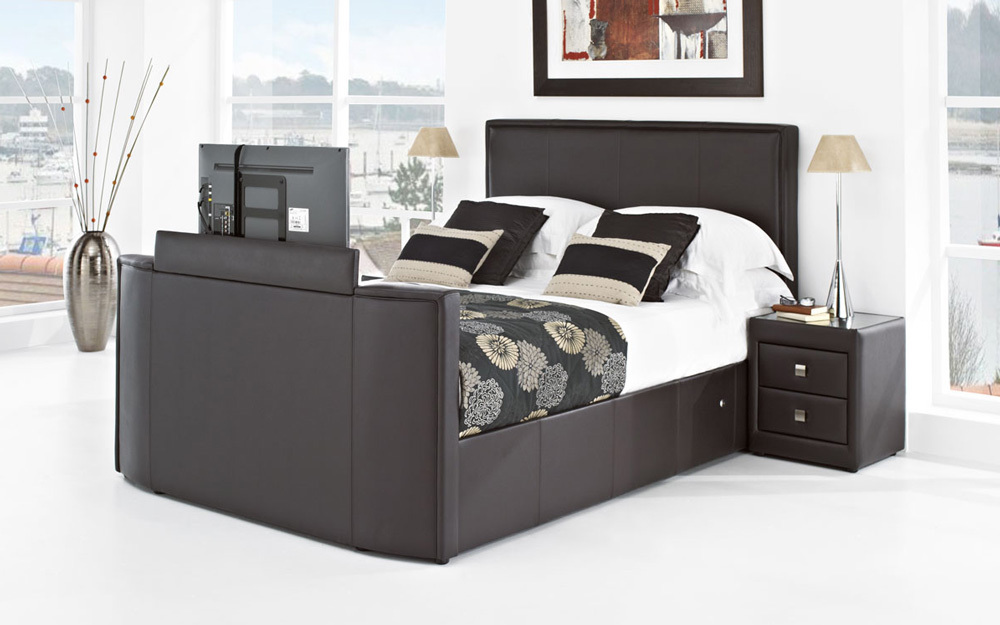 New York Leather TV Bed, Double, Chocolate Leather, Toshiba 32 HD Ready LED TV
