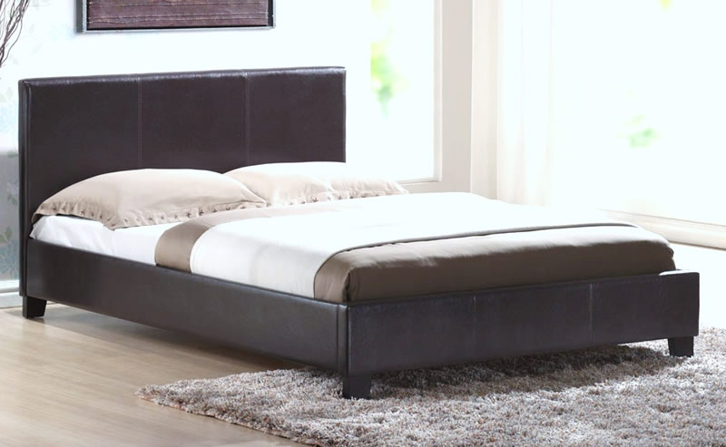 Venice Faux Leather Bed Frame, King Size, Faux Leather - Brown