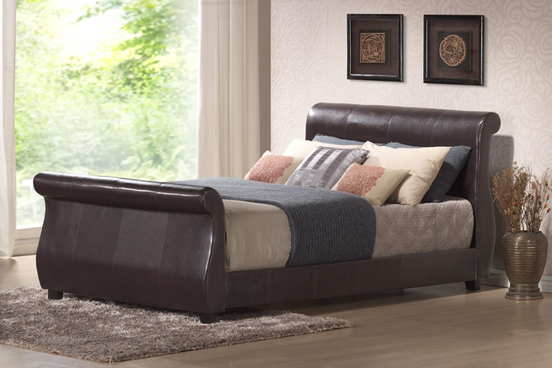 Winchester Faux Leather Sleigh Bed, Double, Faux Leather - Brown