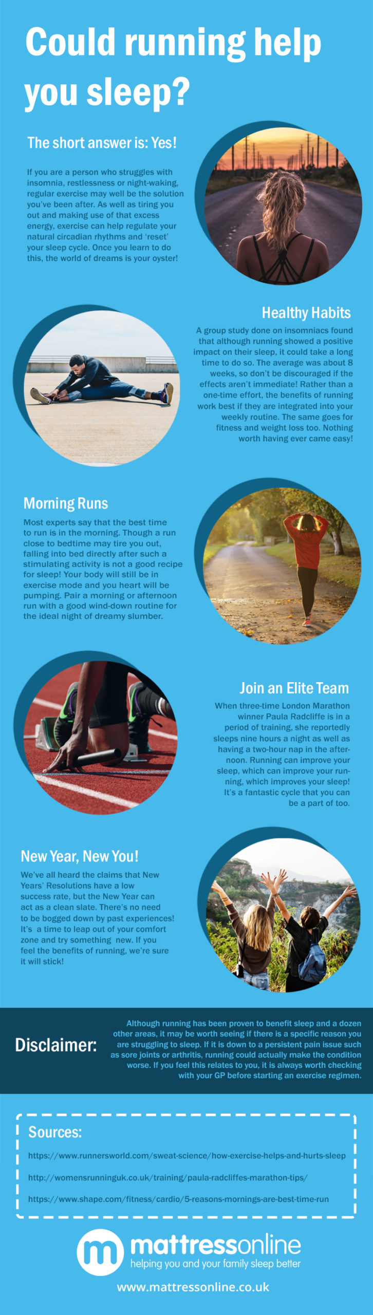 An infographic detailing the ways in which running can positively affect sleep and how to go about integrating it into your routine.