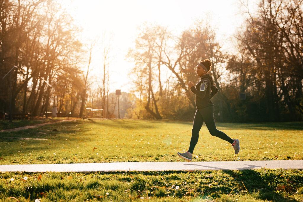 Young woman jogging at a park